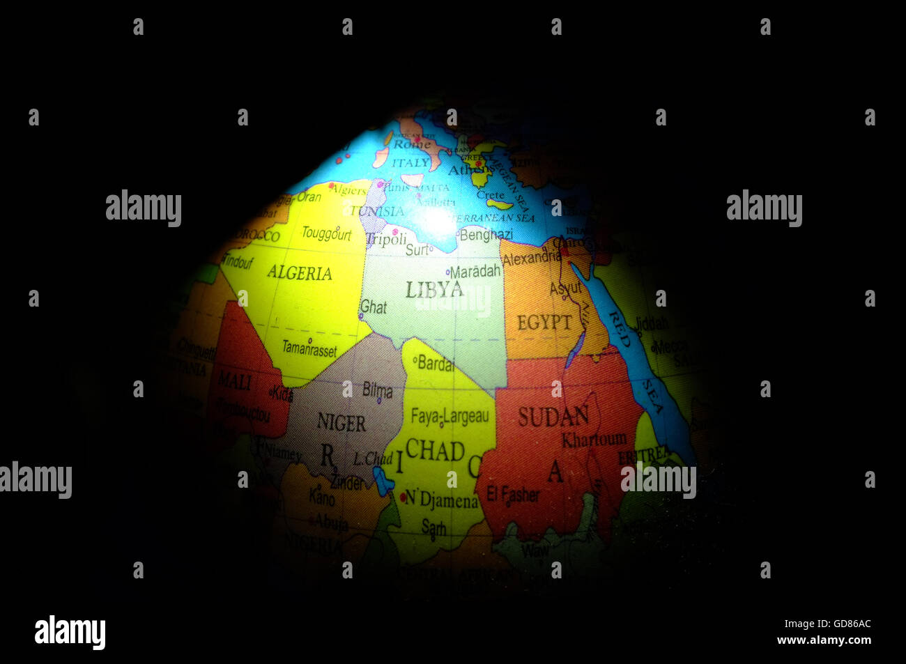 The countries of Northern Africa highlighted on a child's globe. - Stock Image