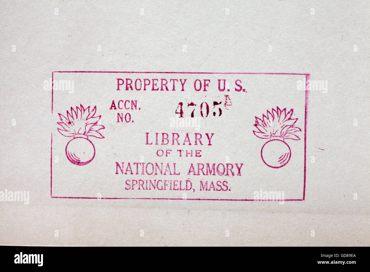 Library Of The US National Armory Stamp From 1942 Book
