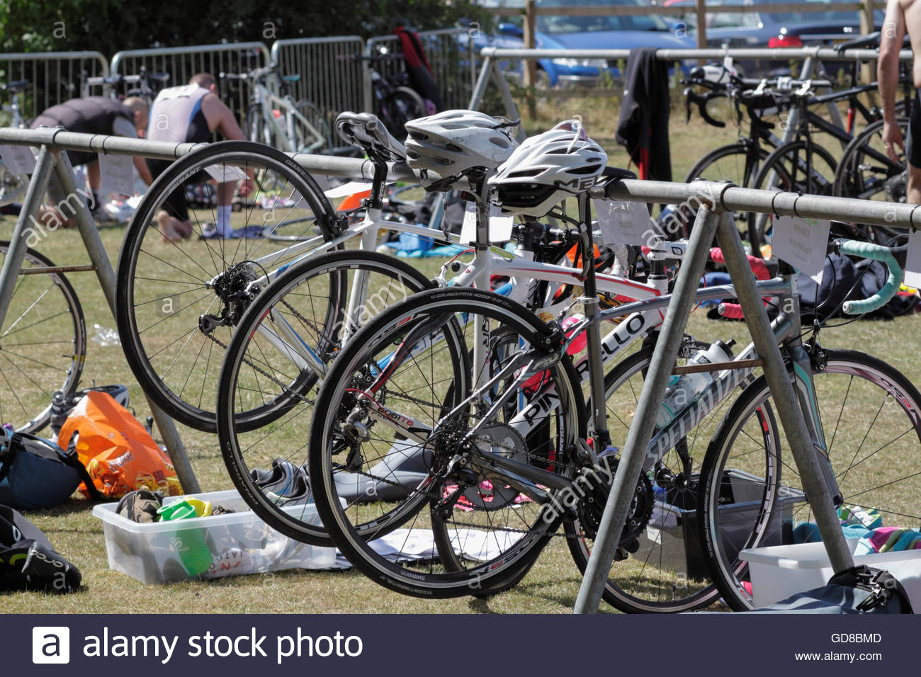 Cycle stand in the transition area, City of Birmingham Triathlon 2015, Sutton Park, UK. - Stock Image