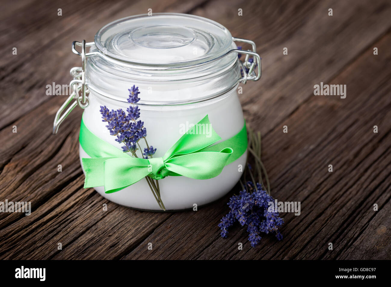 Handmade DIY natural body butter with lavender and coconut oil, almond oil and shea butter Stock Photo