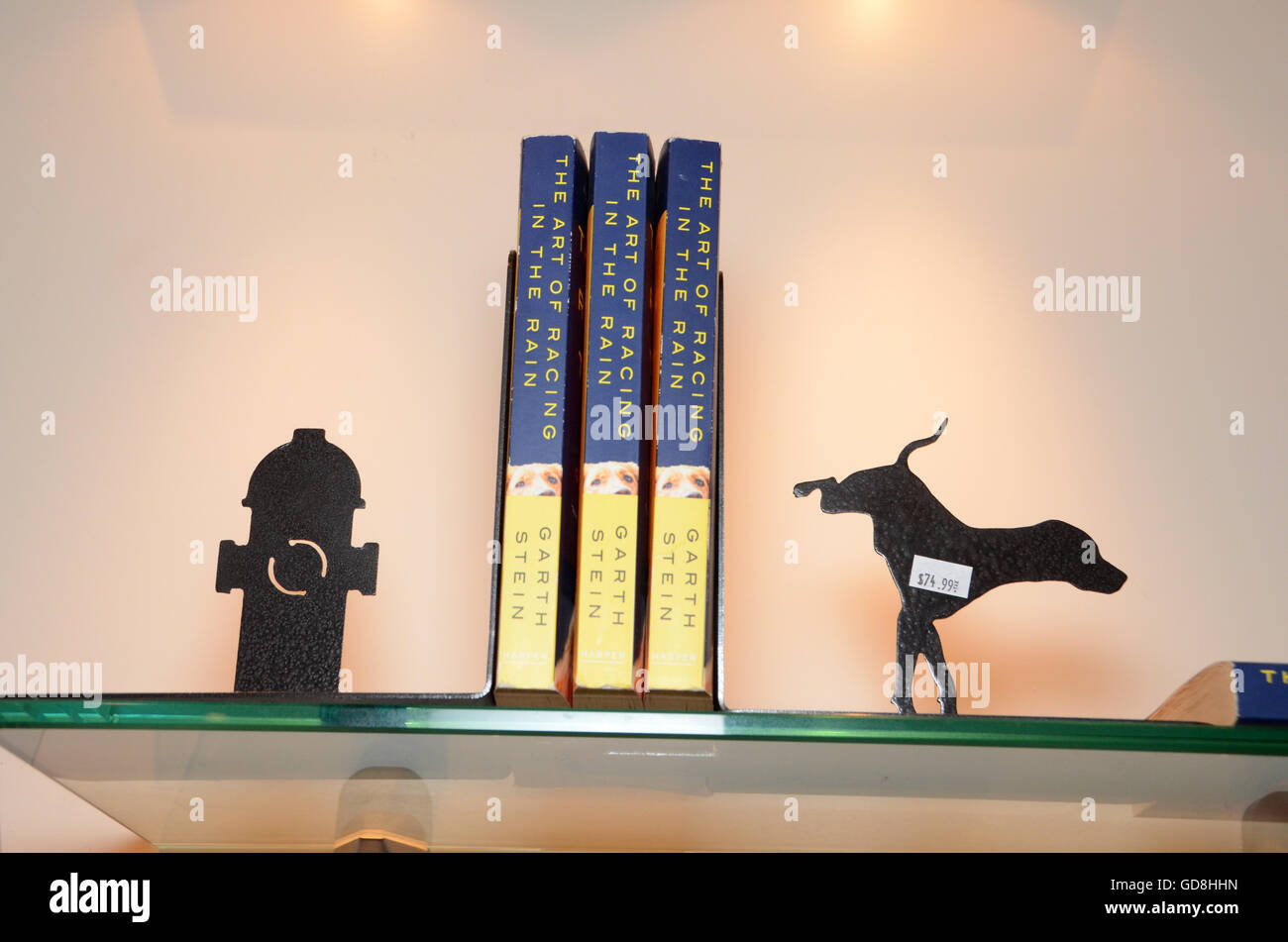 D Pet Hotels Chelsea Manhattan new york USA the art of racing in the rain book dog and water hydrant book ends - Stock Image