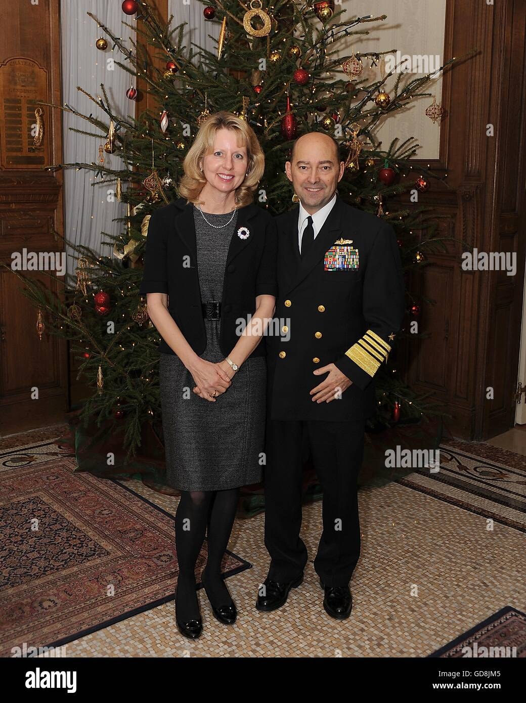 U.S Adm. James Stavridis, European Command and NATO Supreme Allied Commander, accompanied by his wife Laura during - Stock Image