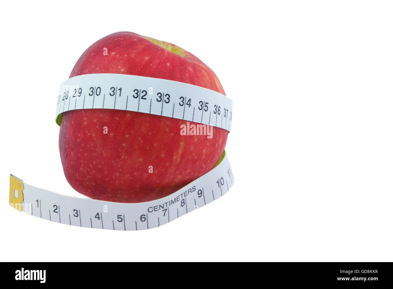 Apple Red Measure around the waist  Isolated on white background Stock Photo