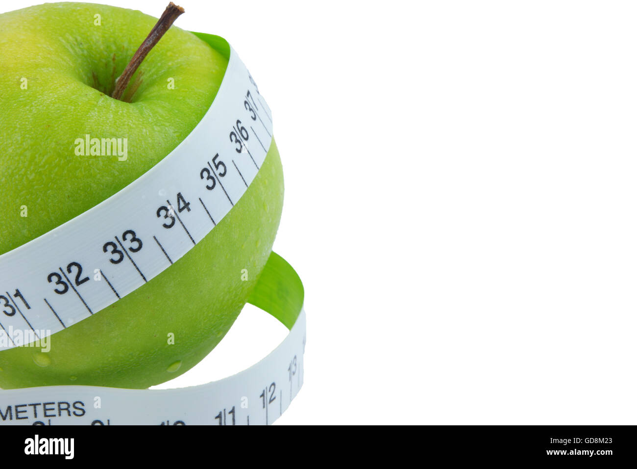 Green apples Measure around the waist Isolated on white background Stock Photo