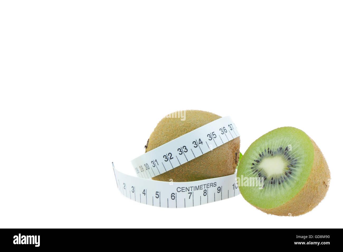 kiwi fruit  Measure around the waist Isolated on white background Stock Photo