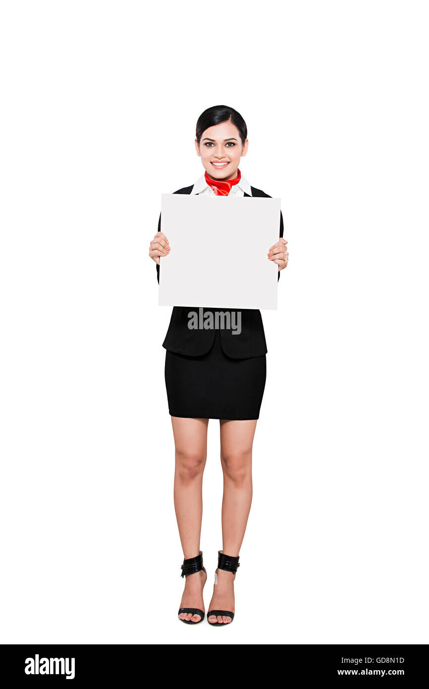 1 Indian Adult Woman Air Hostess Message Board showing - Stock Image