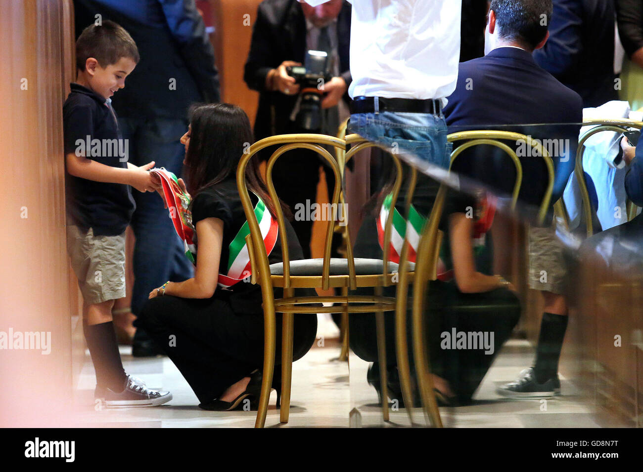 Virginia Raggi with his son Rome 7th July 2016. Campidoglio, first session of the Capitoline Assembly with the new - Stock Image