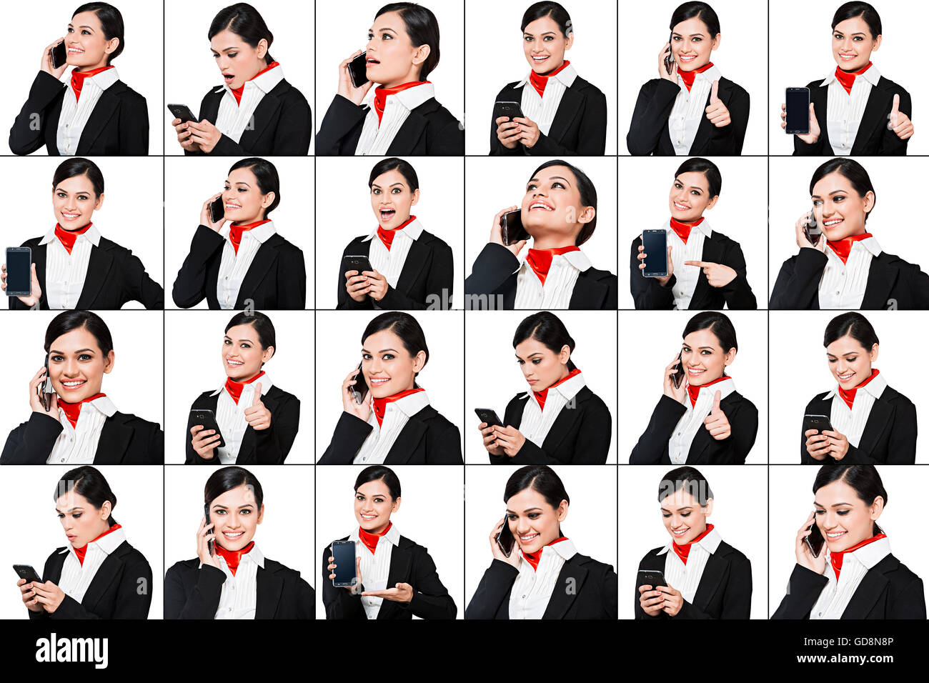 1 Indian Adult Woman Air Hostess Comparisons standing Talking Mobile Phone