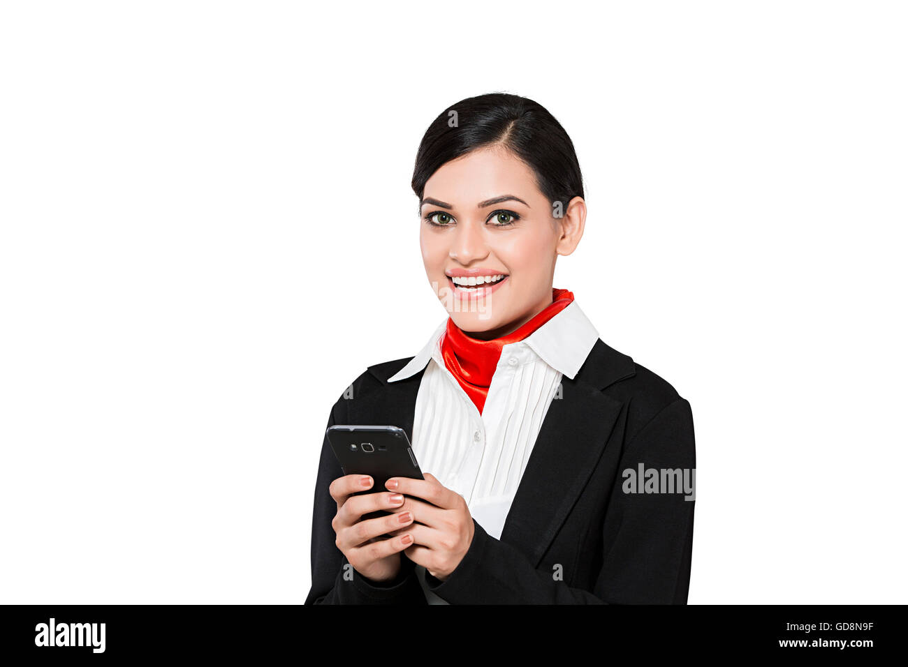 1 Indian Adult Woman Air Hostess Dialing Mobile Phone - Stock Image