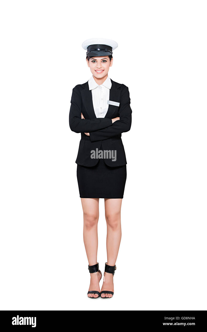 1 Indian Adult Woman Pilot Standing Arms Crossed - Stock Image