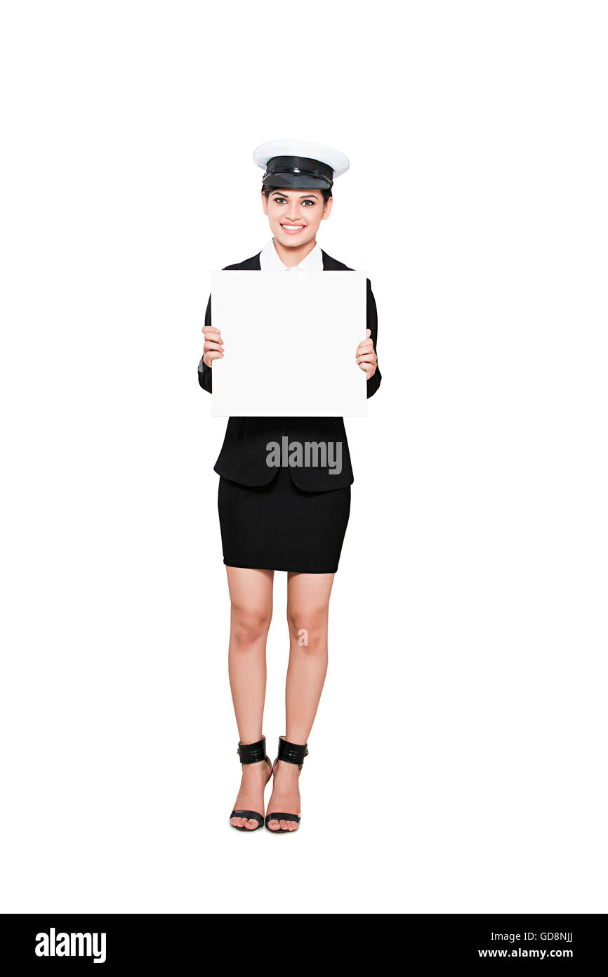 1 Indian Adult Woman Pilot Standing Message Board Showing - Stock Image