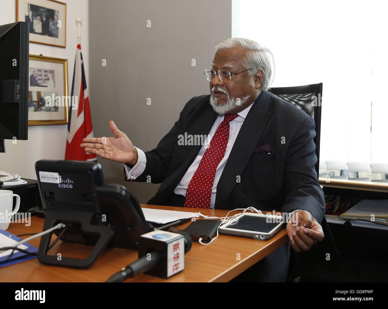 Brussels, Belgium. 12th July, 2016. Nirj Deva, vice chairman of the European Parliament's Development Committee - Stock Image