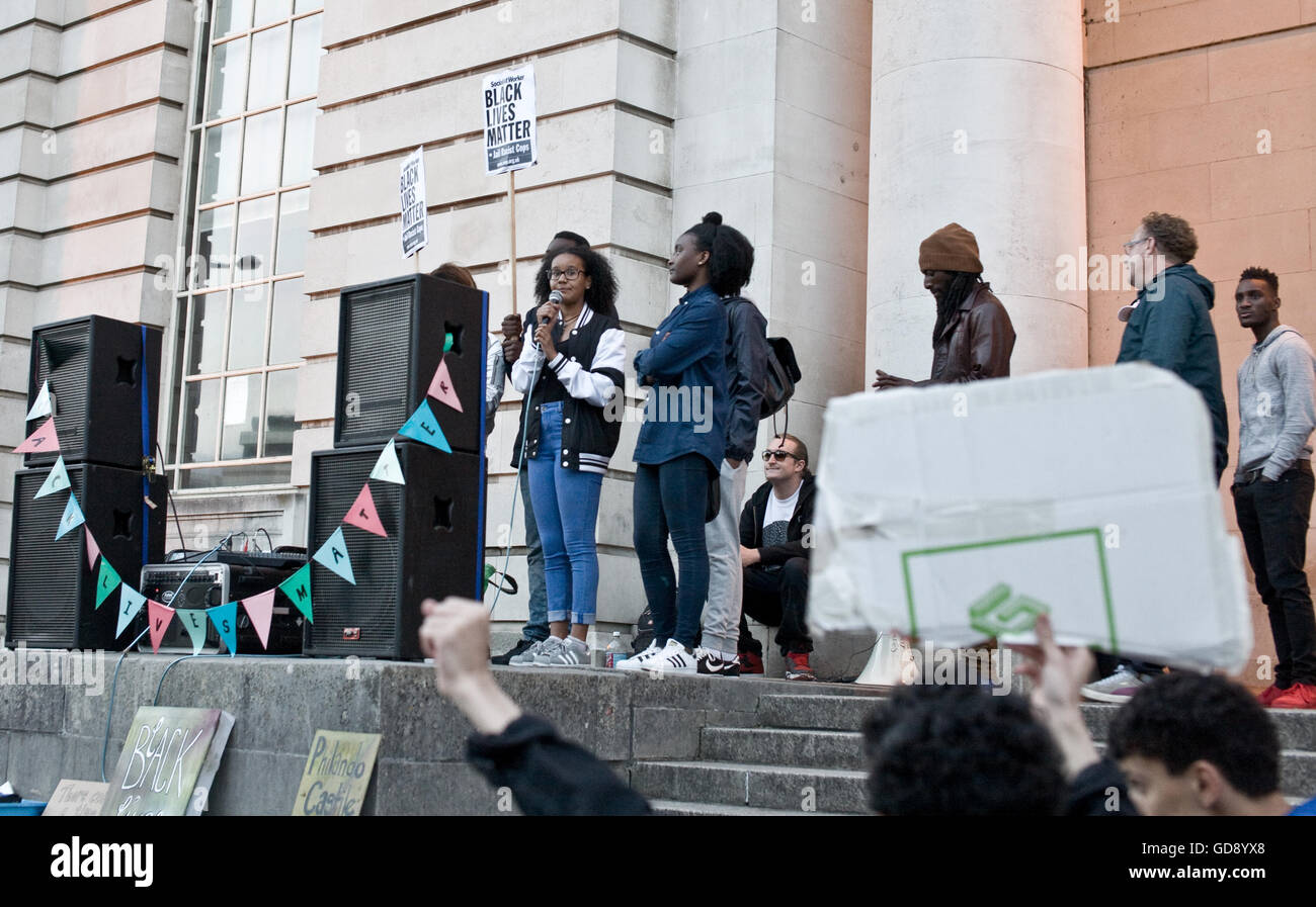 Cardiff, UK. 13th July, 2016. Cardiff vigil for #BlackLivesMatter outside of the National Museum with speeched by - Stock Image