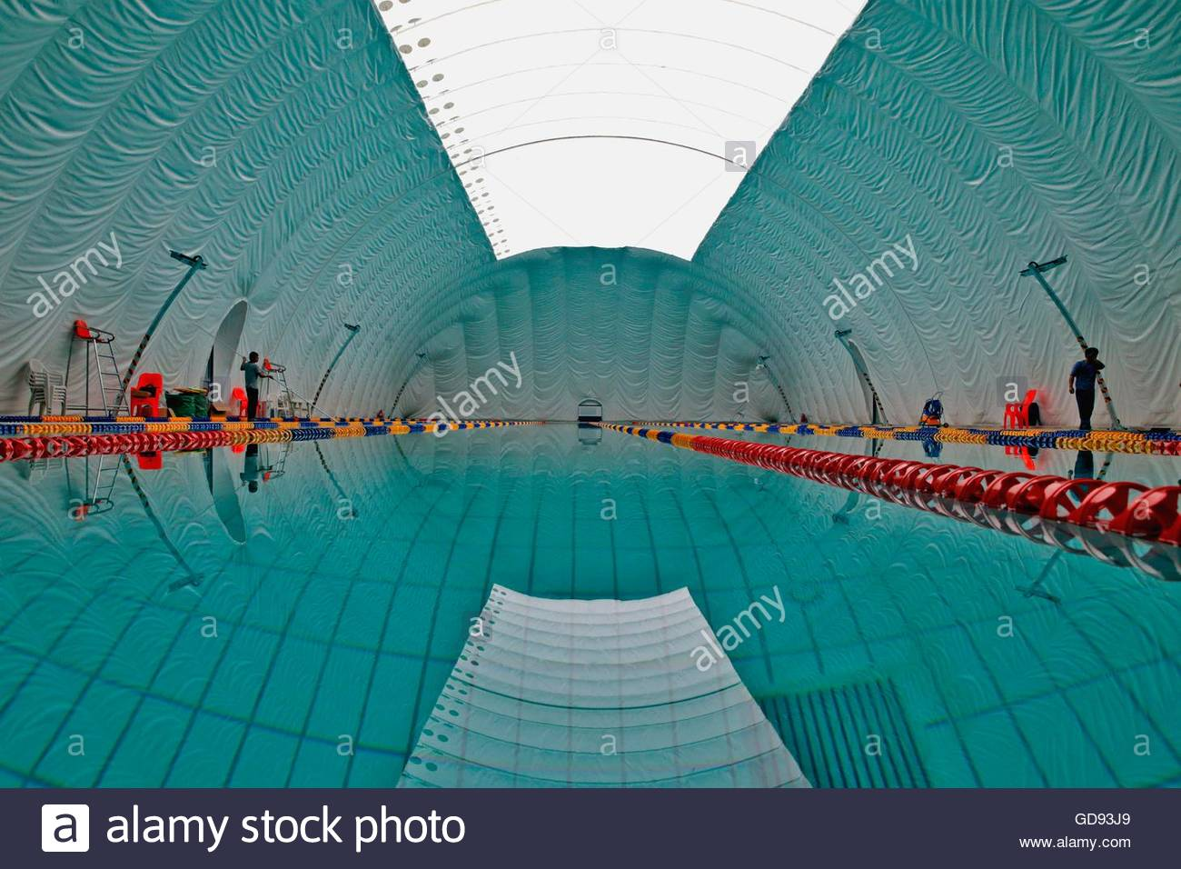 Tianjin, China. 14th July, 2016. The 1st natatorium made of air film covers an area of 1400 square meters with French - Stock Image