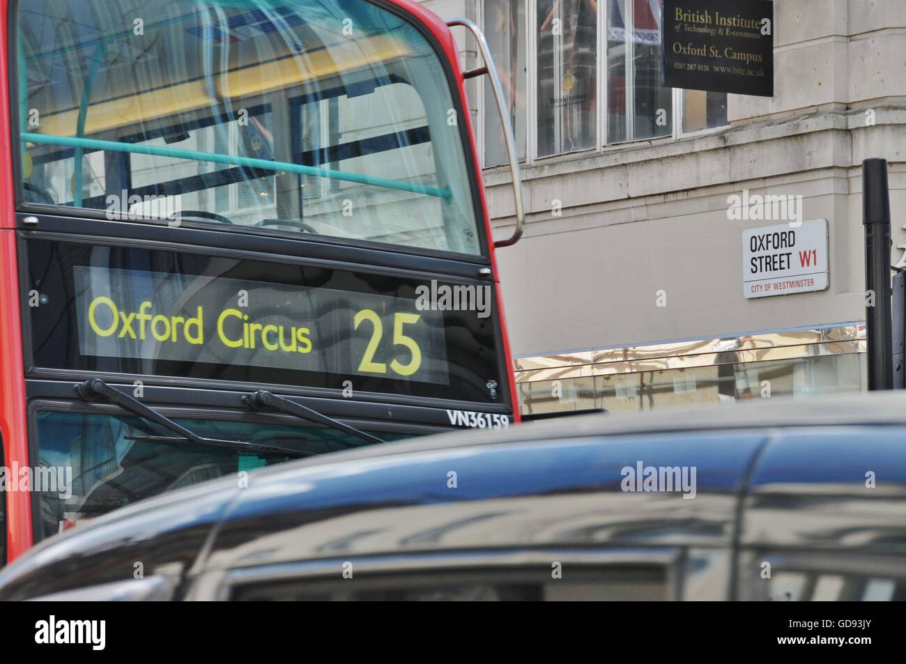 London mayor, Sadiq Khan, will create a pedestrianized Oxford Street; from Tottenham Court Road in the east, to - Stock Image