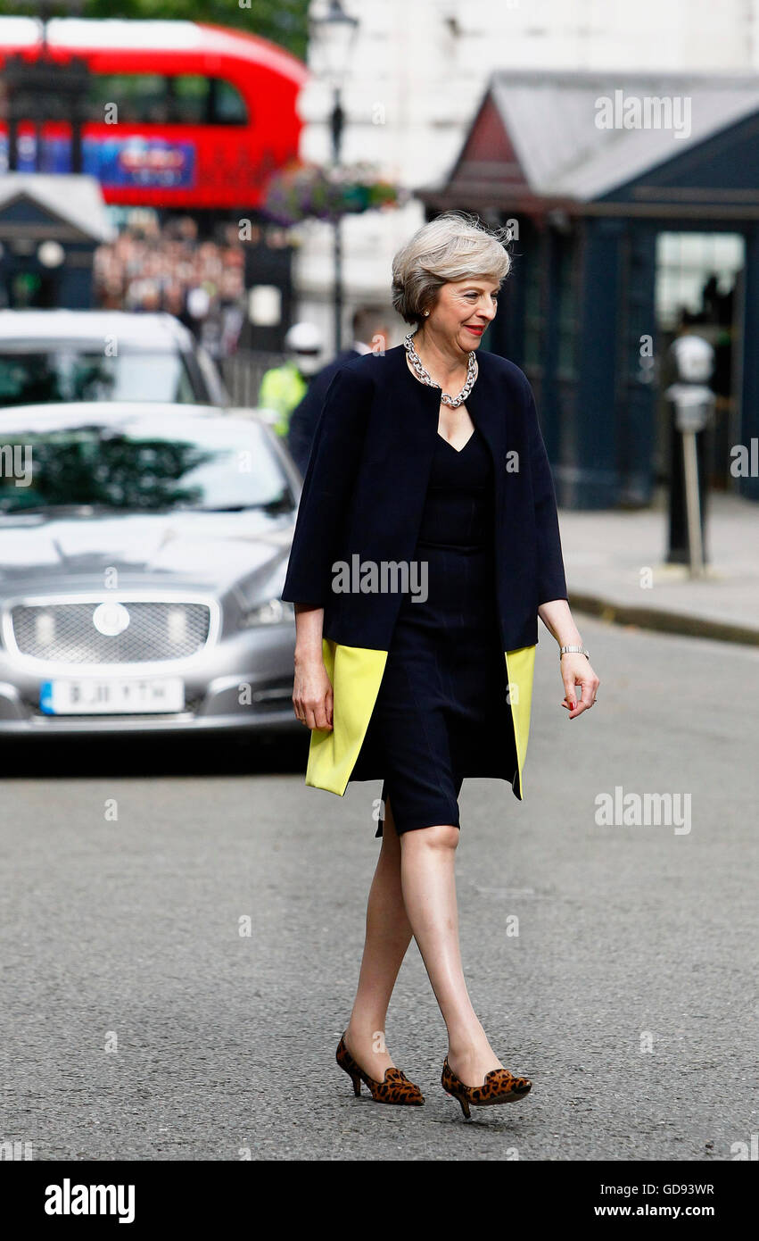 London, UK. 13th July, 2016. Theresa May on her first day as prime minister in Downing Street. Credit:  Eye Ubiquitous/Alamy - Stock Image