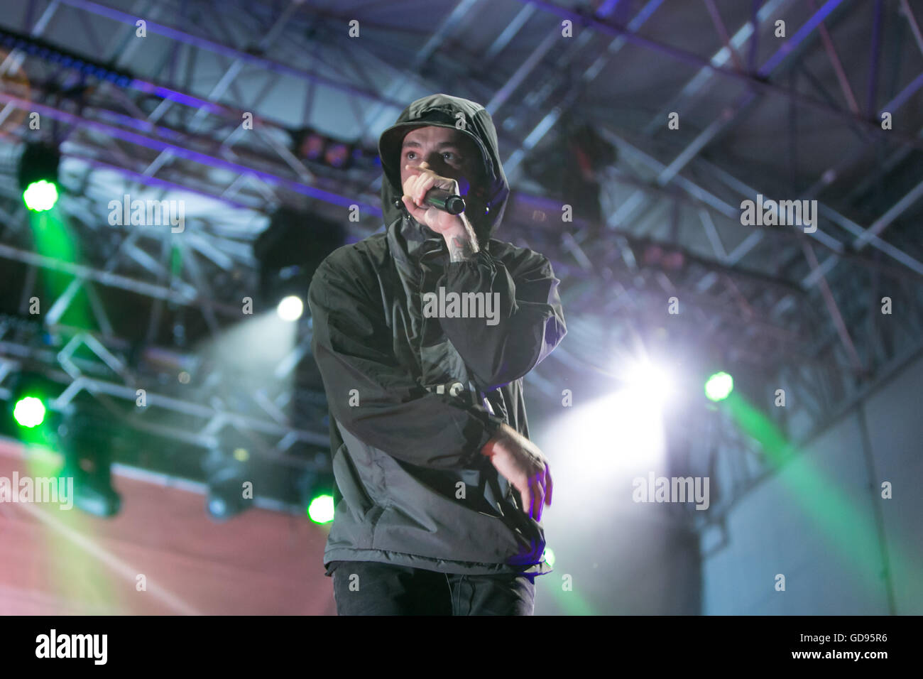 Collegno, Italy. 14th July 2016. flower festival, Collegno, Italy. 14 July 2016. the italian rapper Salmo performs Stock Photo