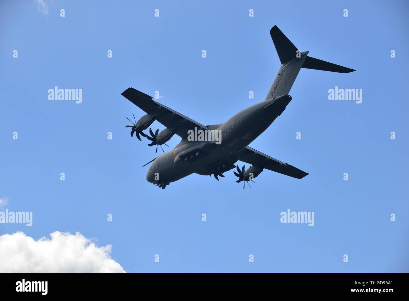 Farnborough, Hampshire, UK. 14th July, 2016. 4 th Day of the Farnborough International Trade Airshow.  Airbus Military - Stock Image