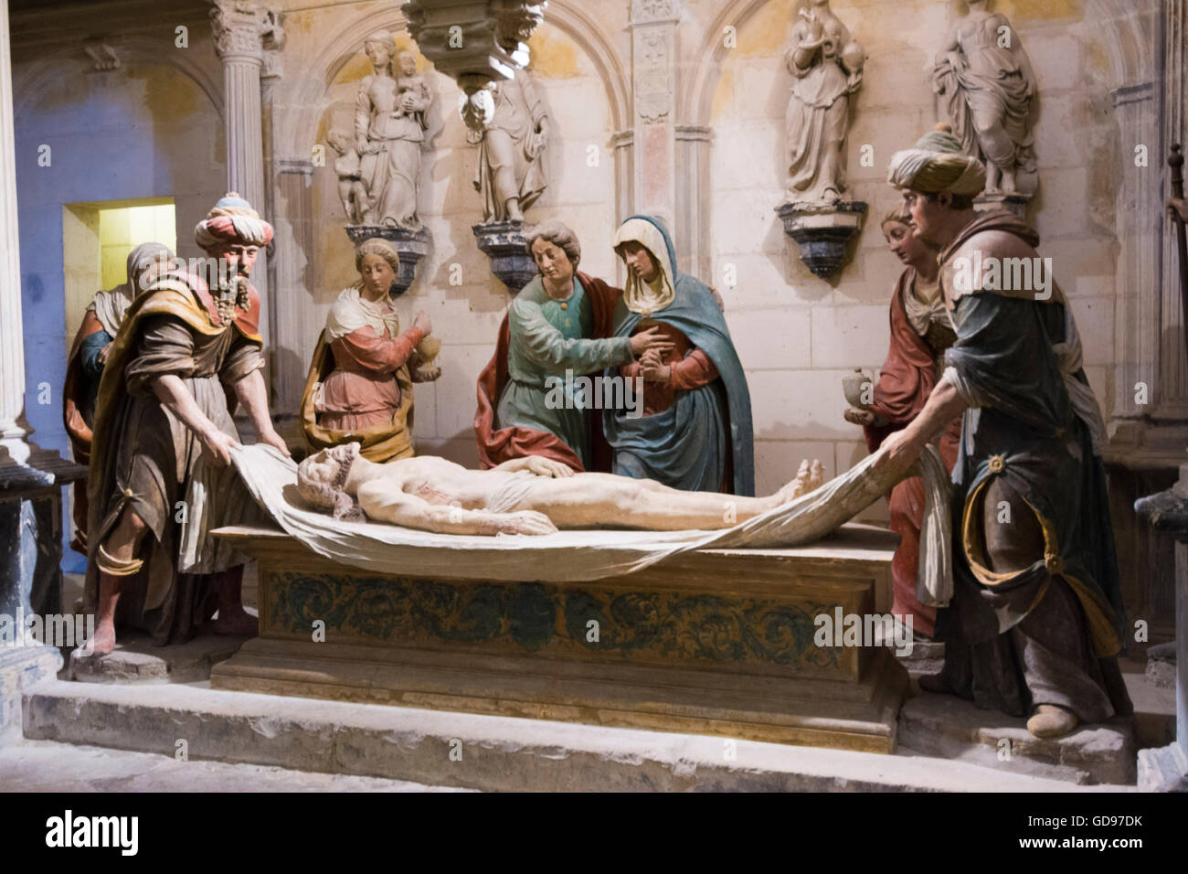 Entombment, crypt of  Bourges Cathedral Saint Etienne, UNESCO World Heritage Site, Cher, France - Stock Image