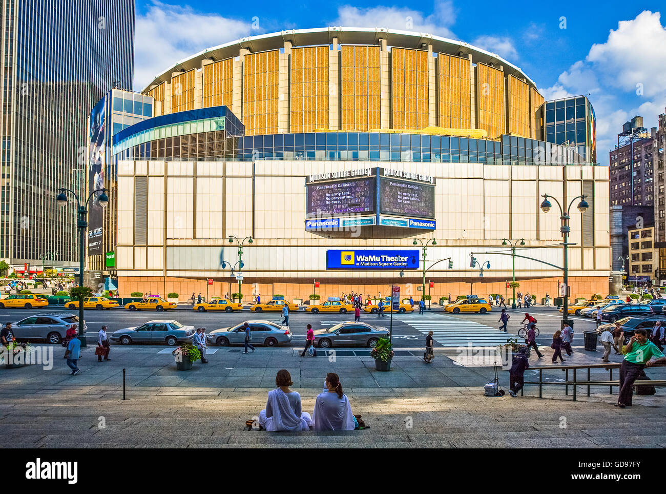 U.S.A., New York,Manhattan,people in from of the Madison Square Garden - Stock Image