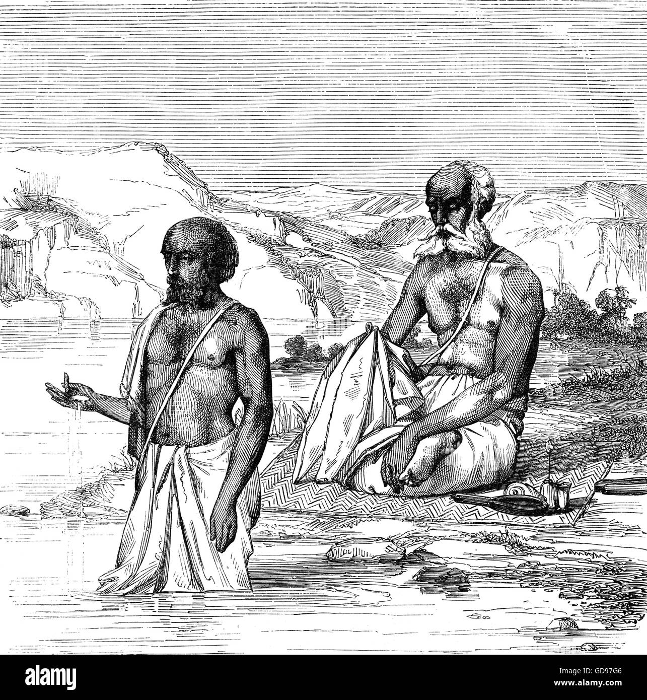 Brahmins, a varna (caste) in Hinduism in religious worship. They specialised as priests, teachers (acharya) and - Stock Image