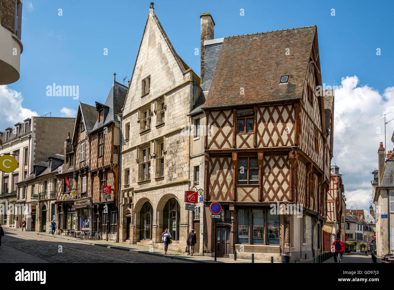 Bourges, typicals half-timberd houses, Cher department, region Centre-Val de Loire, France - Stock Image