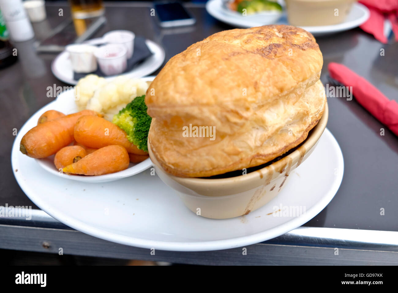 Steak and Kidney pie from the pub at Broadstairs Kingsgate Bay - Stock Image