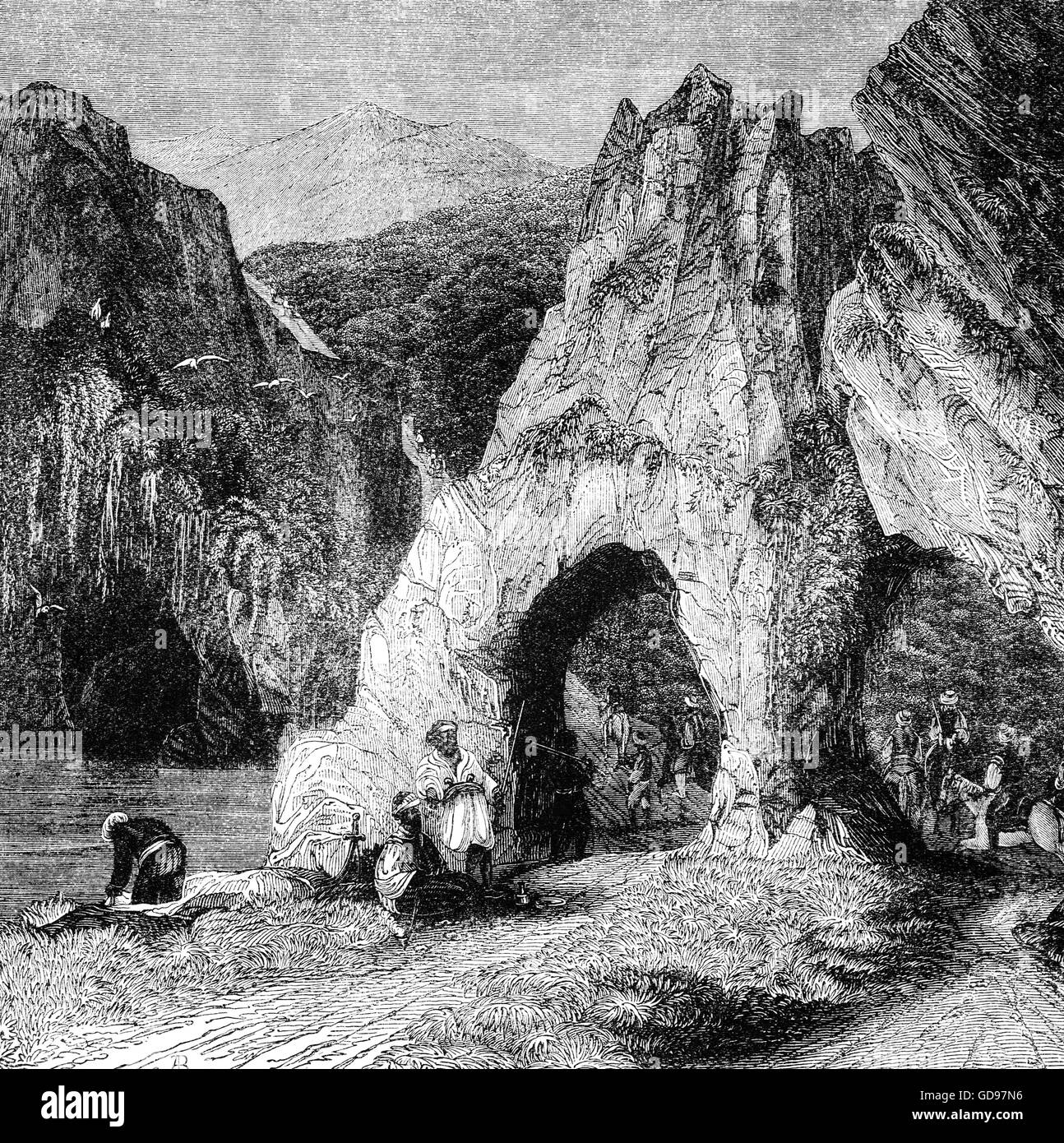 A typical 18th Century view in the Balkan Peninsula, a peninsula and a cultural area in Southeast Europe with many - Stock Image
