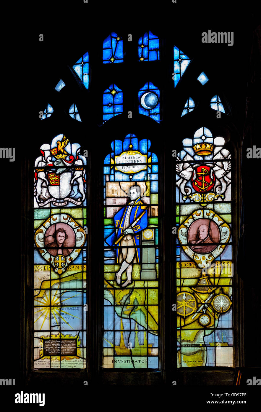 St. Mary and The Holy Rood Church, Donington, Lincolnshire - window dedicated to Matthew Flinders Stock Photo