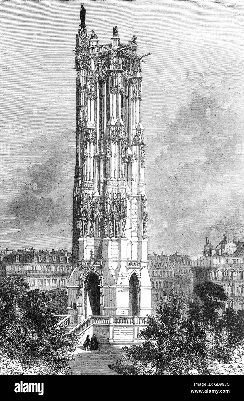 The remaining tower of the demolished Church of St Jacques Del La Boucherie in which the National Assembly held - Stock Image