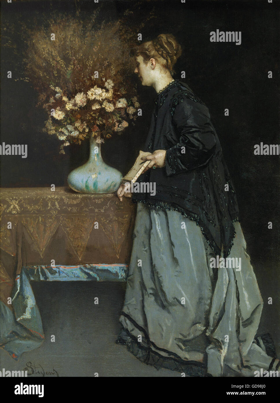 Alfred Stevens - Autumn Flowers - Stock Image