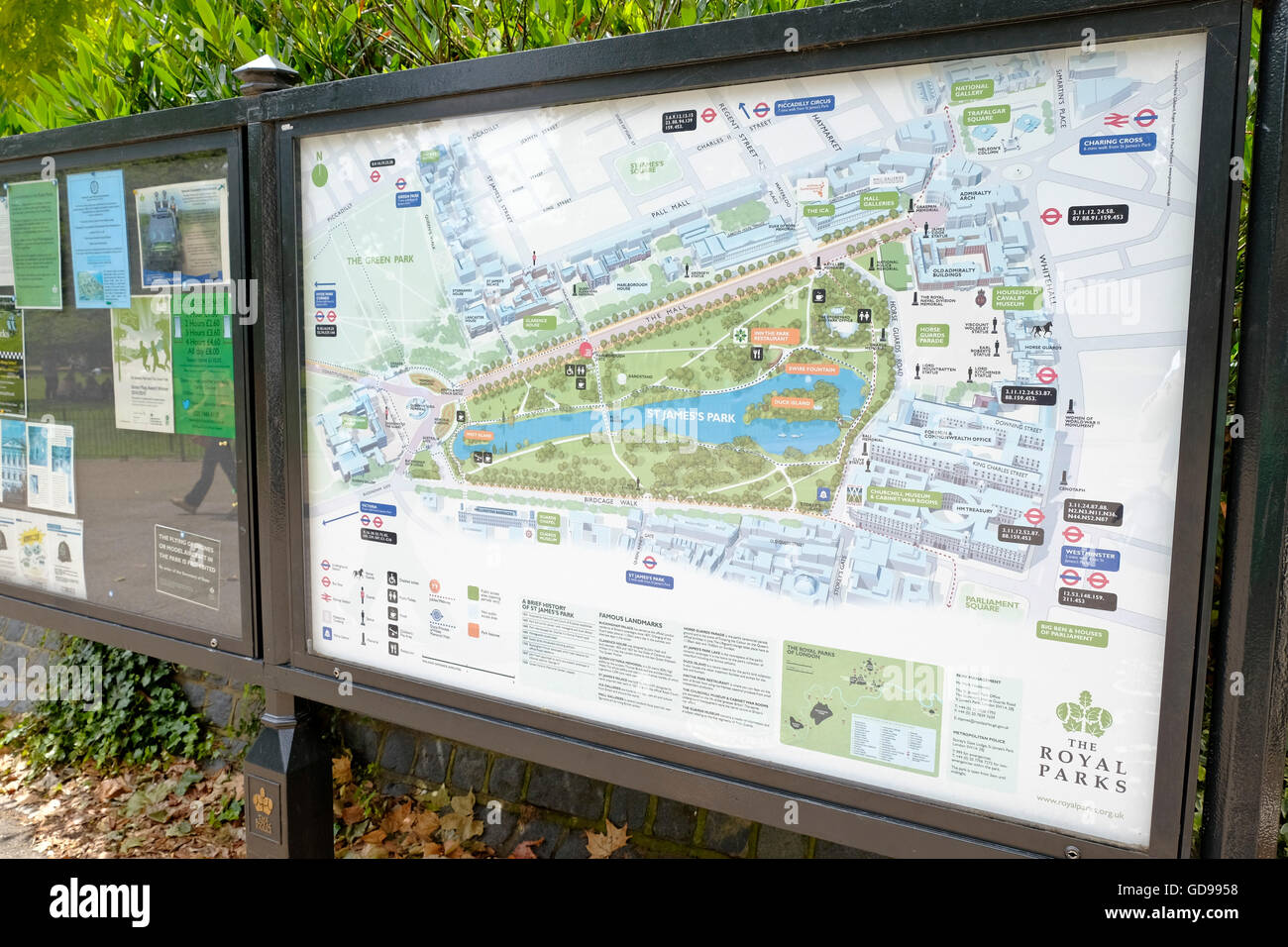 a tourist guide map of st jamess park london stock image