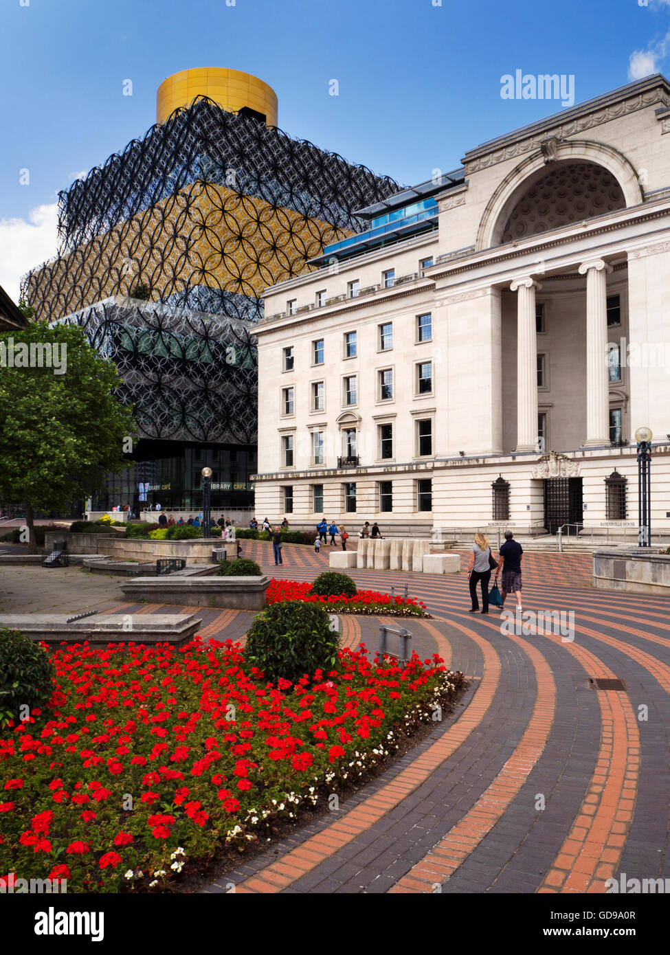 Baskerville House and Library of Birmingham in Centenary Square Birmingham West Midlands England - Stock Image