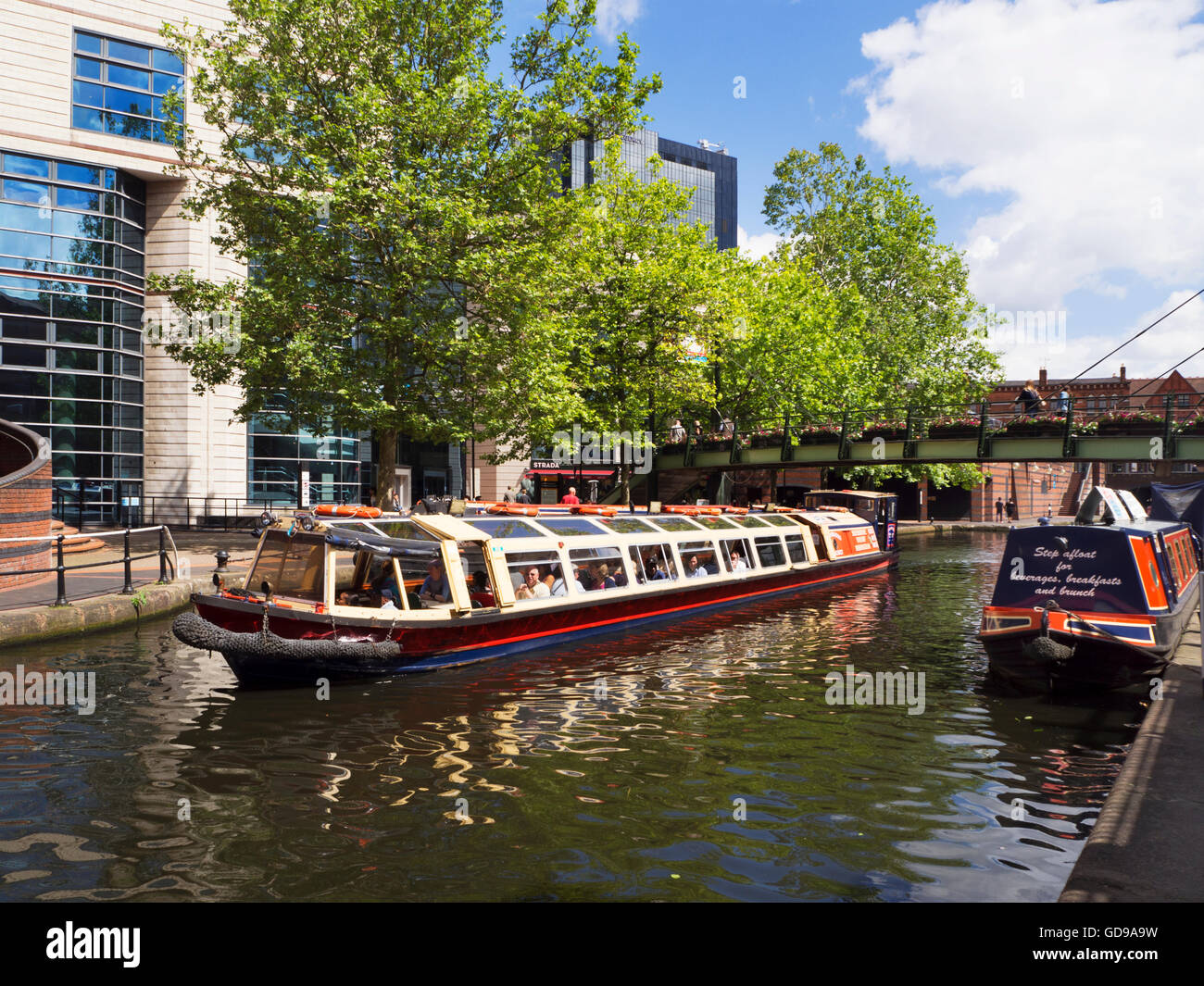 Pleasure Cruise on the Brimingham Canal at Brindley Place Birmingham West Midlands England - Stock Image