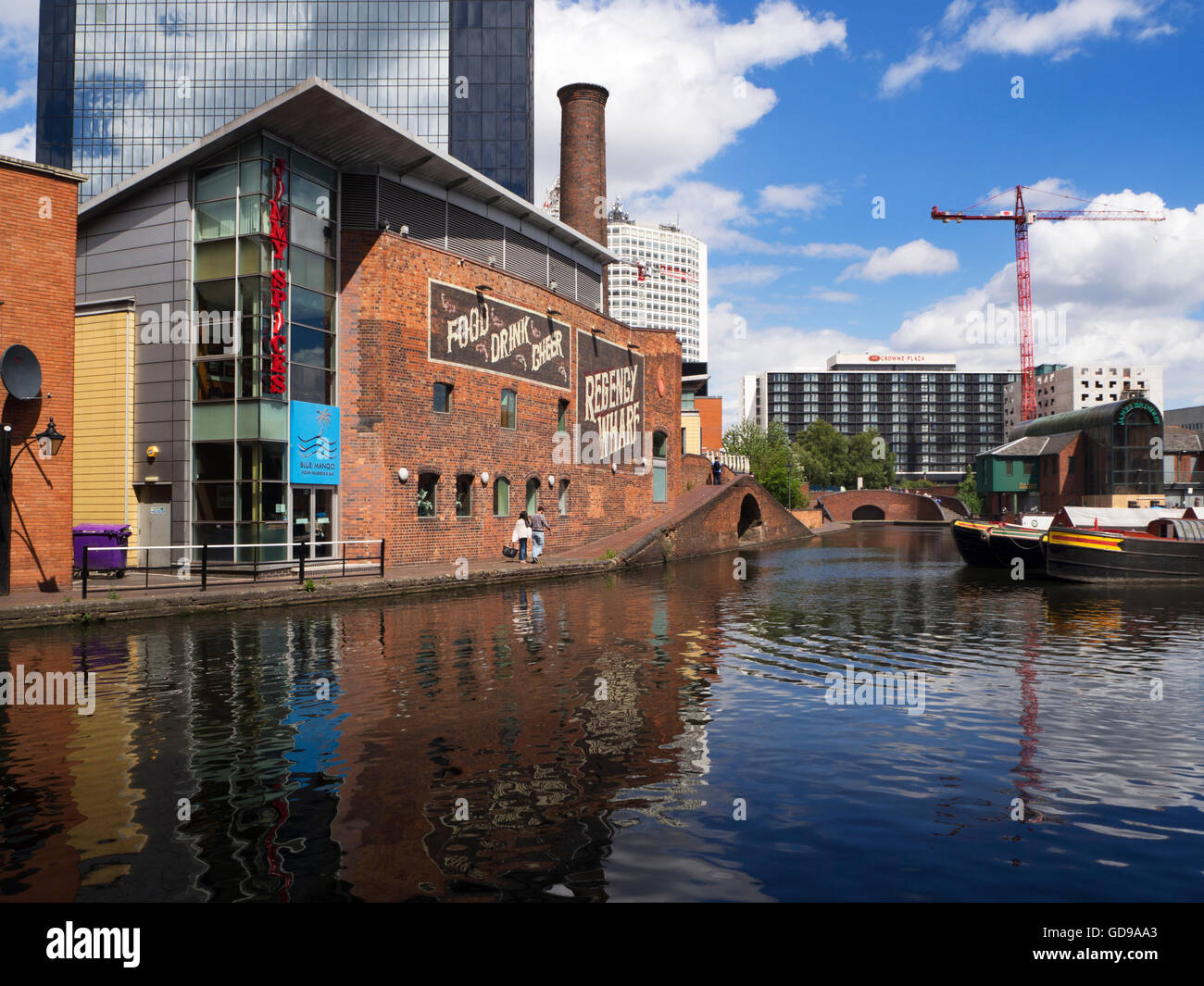 Regency Wharf on the Birmingham Canal at Gas Street Basin Birmingham West Midlands England - Stock Image