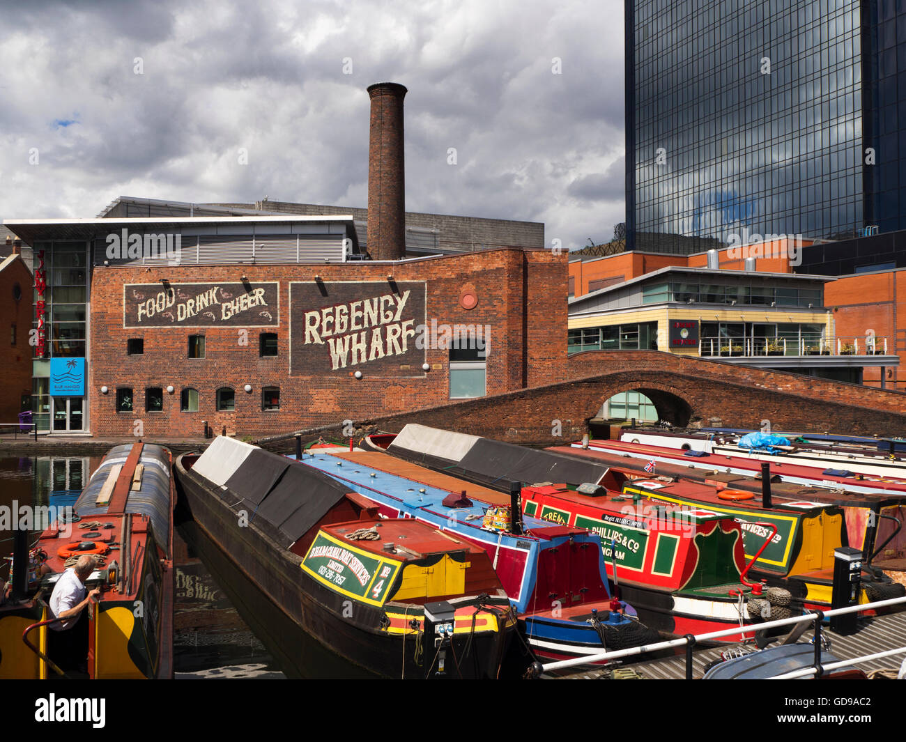 Narrowboats on the Birmingham Canal at Gas Street Basin Birmingham West Midlands England - Stock Image