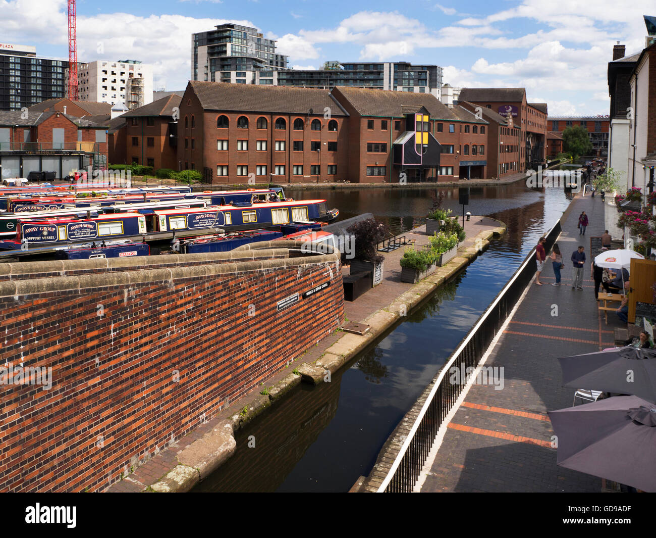 Narrowboats and Worcester and Birmingham Canal from Gas Street Basin Birmingham West Midlands England Stock Photo