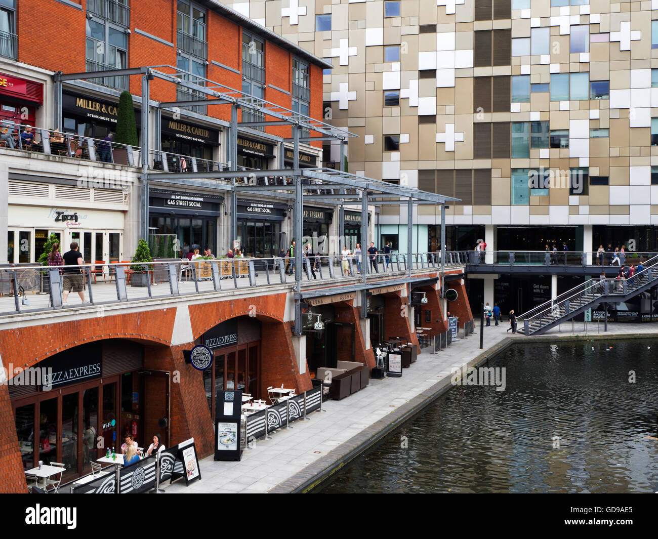 Restaurants by the Worcester and Birmingham Canal Birmingham West Midlands England - Stock Image