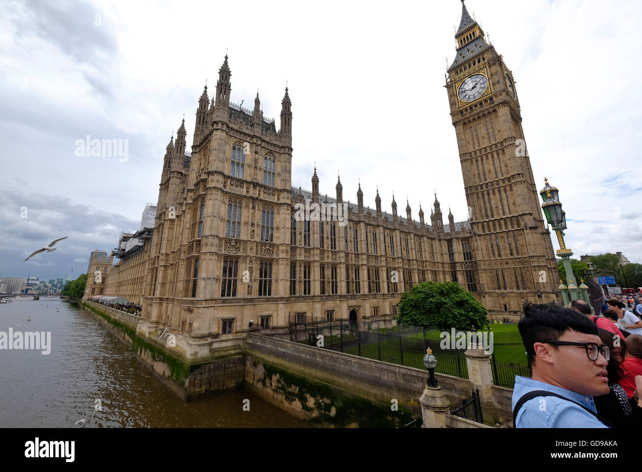A distorted image of The Houses of Parliament a London landmark taken from Westminster Bridge with a view of the - Stock Image