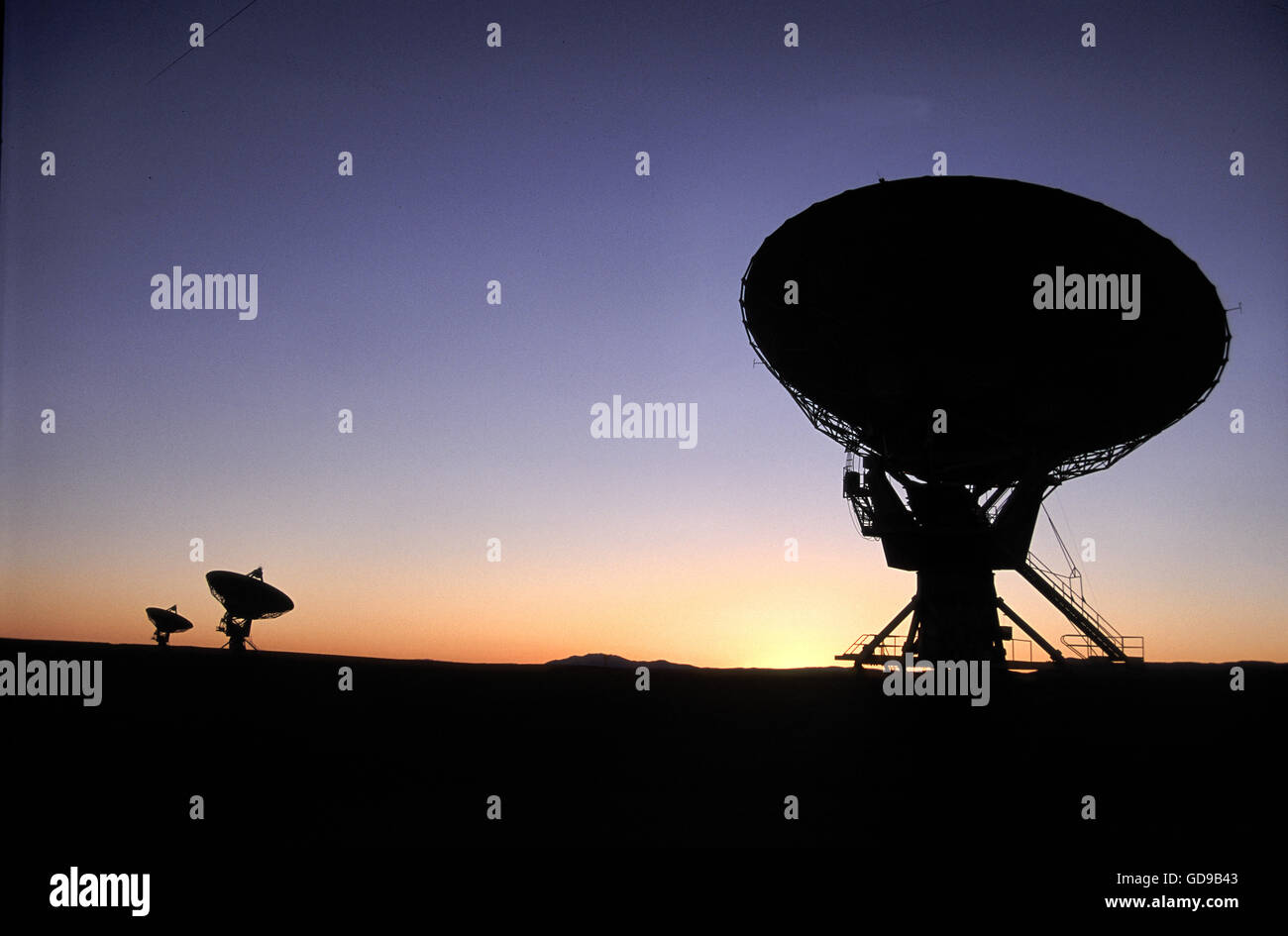 VLA Radiotelescope Dishes. The Very Large Array, one of the world's premier astronomical radio observatories. Stock Photo