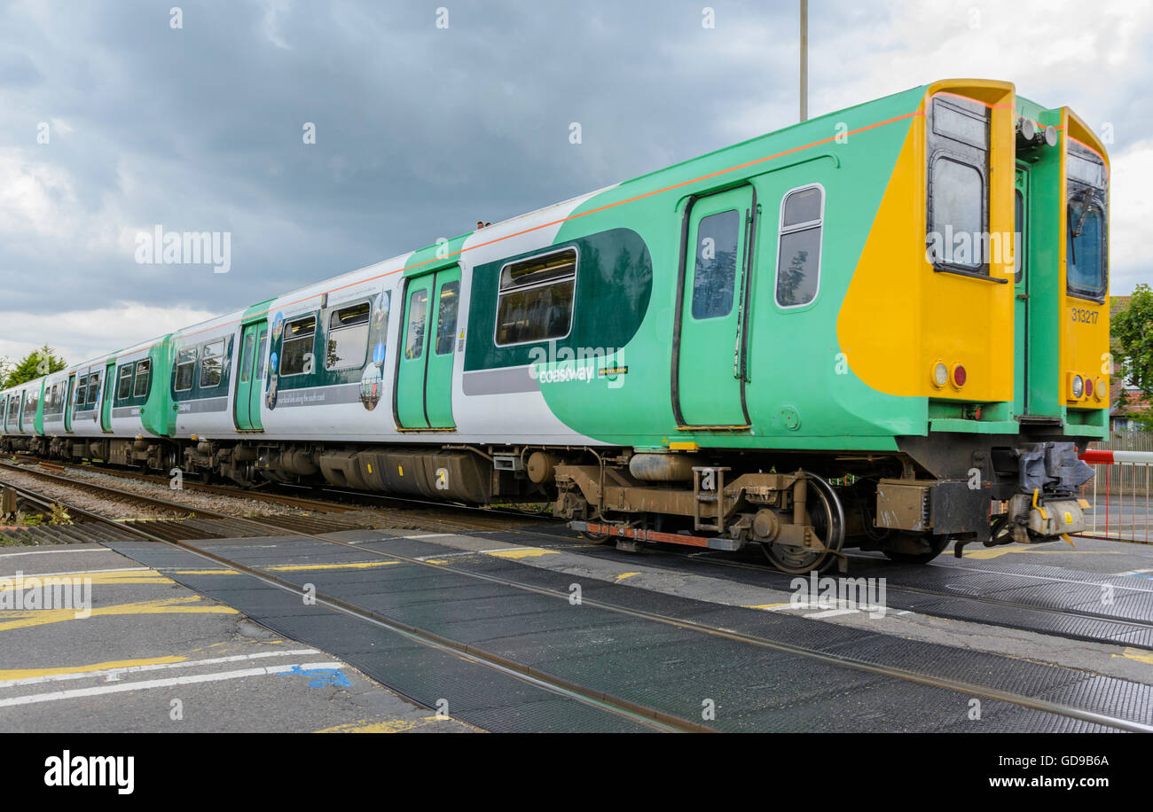 Southern Rail Coastway Class 313 train in West Sussex, England, UK. Southern Rail. Southern train. Southern trains. - Stock Image