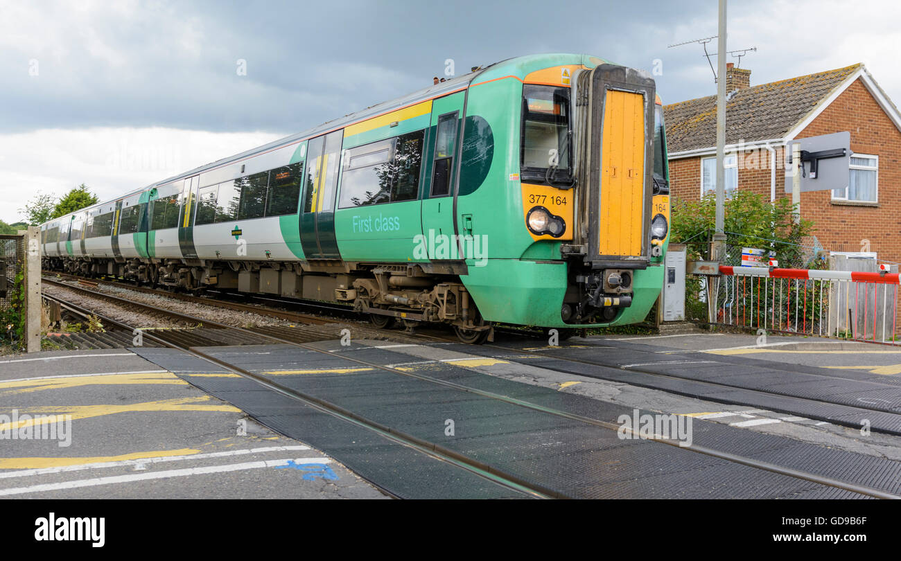 Class 377 Electrostar Southern Rail train in West Sussex, England, UK. Southern Rail. Southern train. Southern trains. - Stock Image