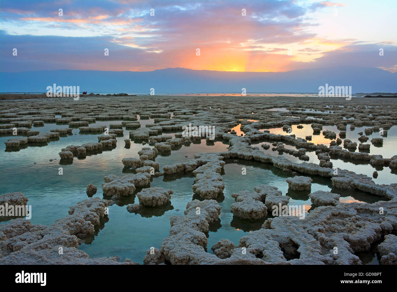 Sunrise over salt formation in the Dead sea, Israel - Stock Image