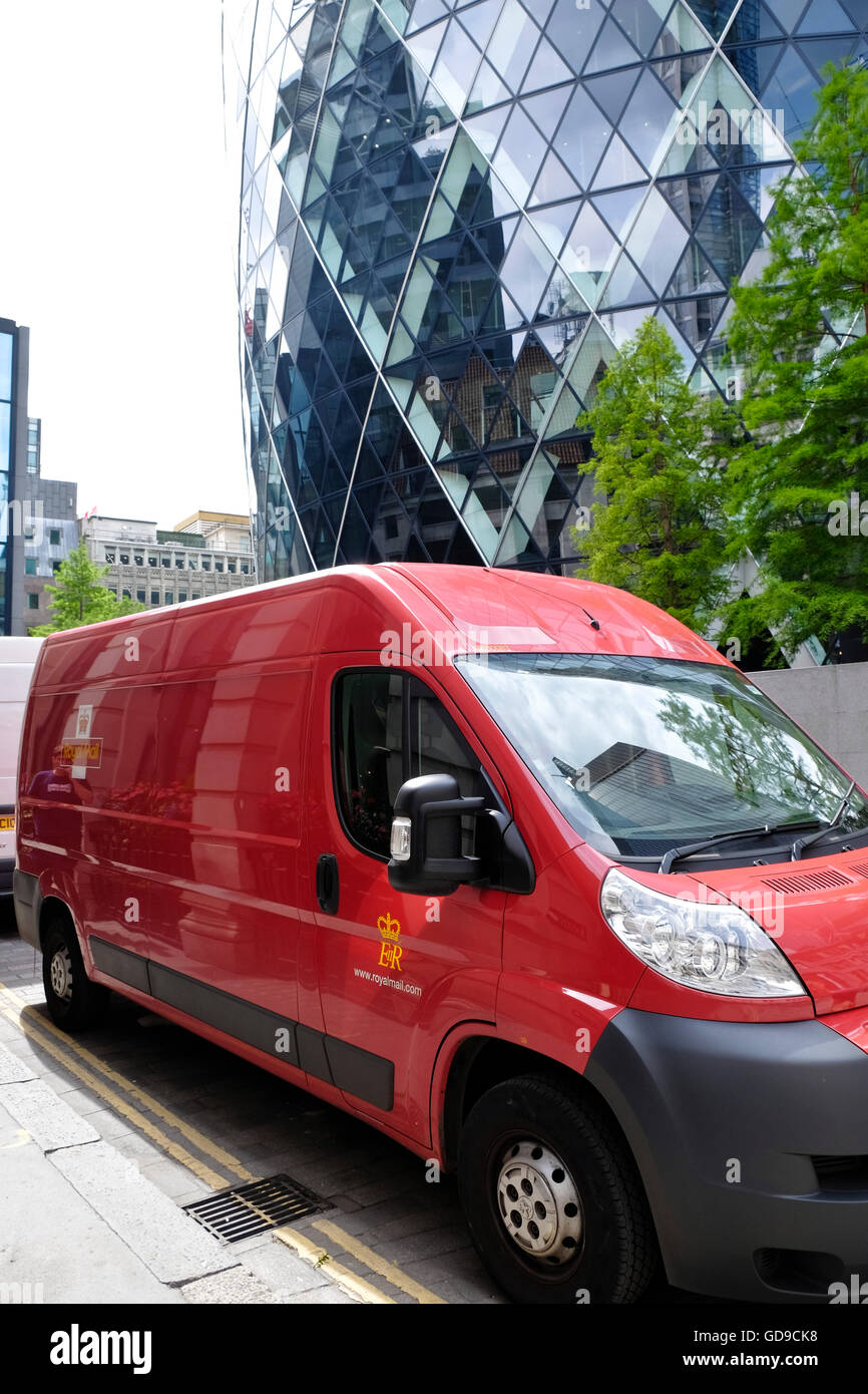 43fe3666bc803b A Royal Mail delivery van parked in the street in front of The Gerkin City  of