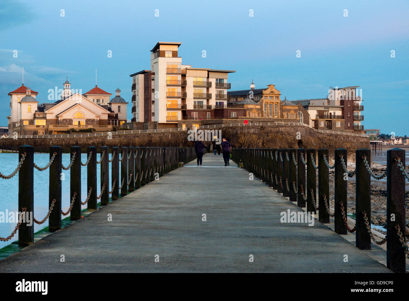Marine lake at Weston-Super-Mare, UK. - Stock Image