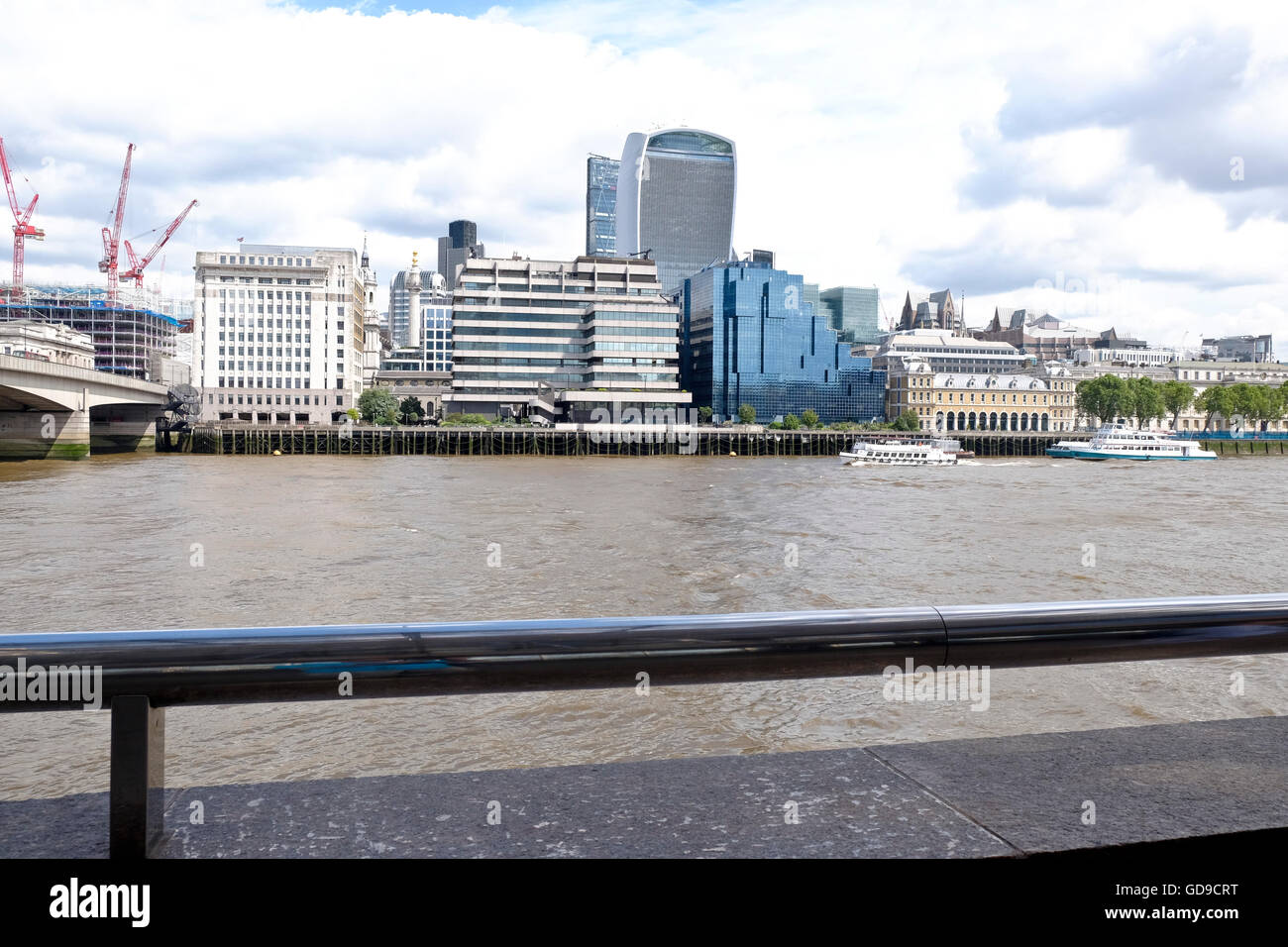 """The London skyline viewed over the Thames river 20 Fenchurch Street """"The Walkie Talkie""""  a London landmark prominent Stock Photo"""