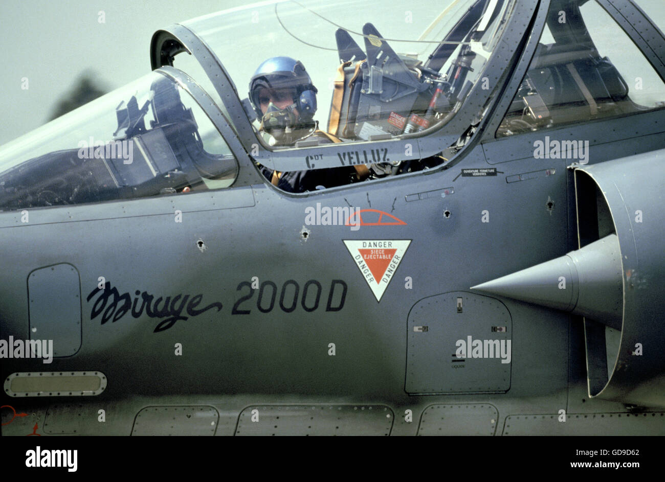 Pilot in the cockpit of a Mirage 2000 fighter aircraft Stock