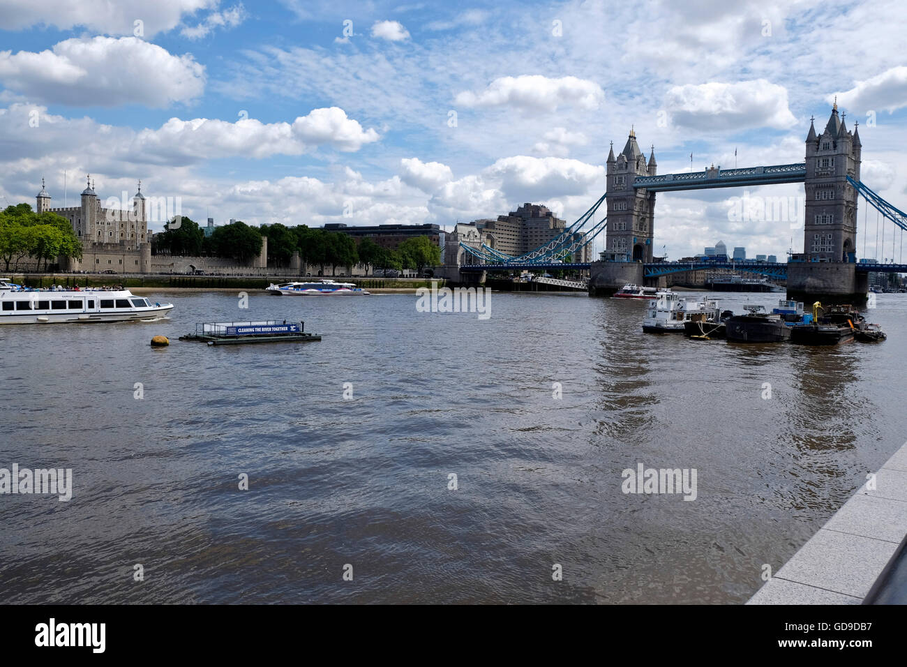 London, United Kingdom. A view of Tower Bridge a London landmark from the South Bank of the River Thames with the - Stock Image