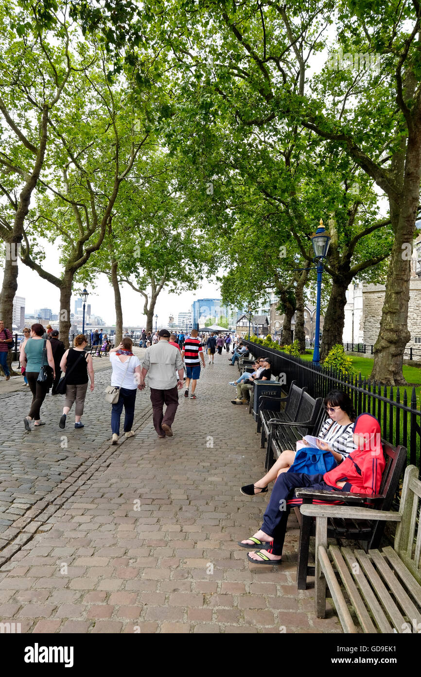 Tourists sit on benches under trees on the Victoria Embankment along the Thames river Tower of London is on the - Stock Image