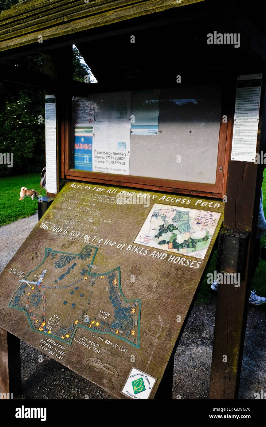 A visitors information board at Langdon Hills County Park in Essex England - Stock Image